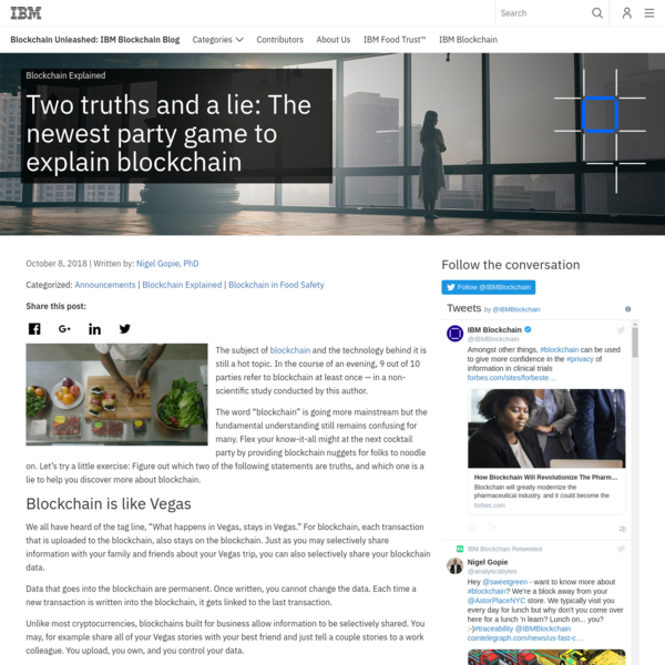 Two truths and a lie: The newest party game to explain blockchain - Blockchain Unleashed: IBM Blockchain Blog