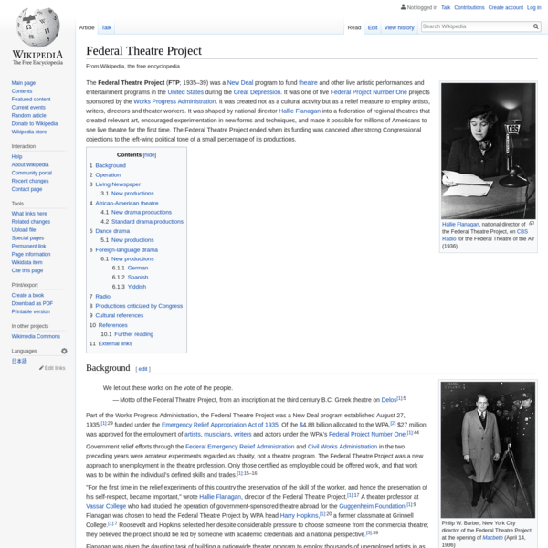 Federal Theatre Project - Wikipedia