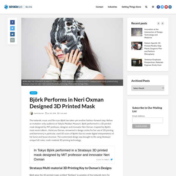 Björk Performs in Neri Oxman Designed 3D Printed Mask