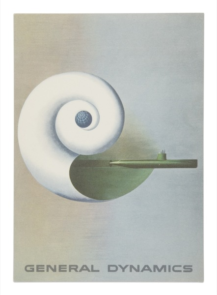 Postcard representing 'hydrodynamics,' a painting of a nautilus shell with the Nautilus submarine.  1955   http://www.iconofgraphics.com/erik-nitsche/