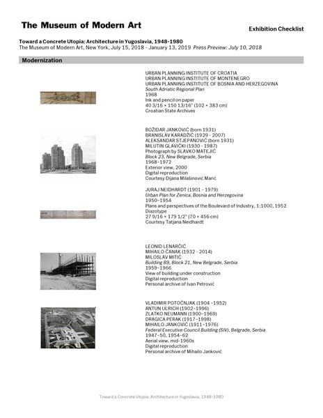 Toward a Concrete Utopia, Architecture in Yugoslavia (exhibition checklist)