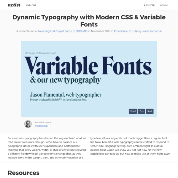 Dynamic Typography with Modern CSS & Variable Fonts by Jason Pamental
