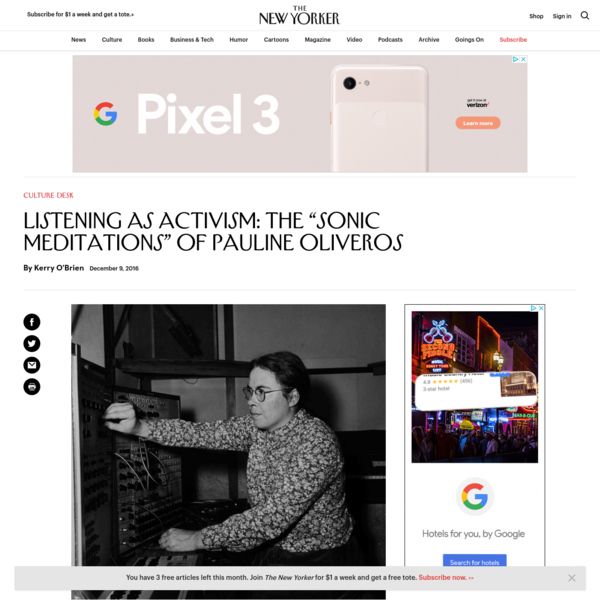 "Listening as Activism: The ""Sonic Meditations"" of Pauline Oliveros"