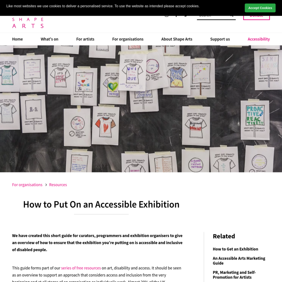 We have created this short guide for curators, programmers and exhibition organisers to give an overview of how to ensure that the exhibition you're putting on is accessible and inclusive of disabled people. This guide forms part of our series of free resources on art, disability and access.