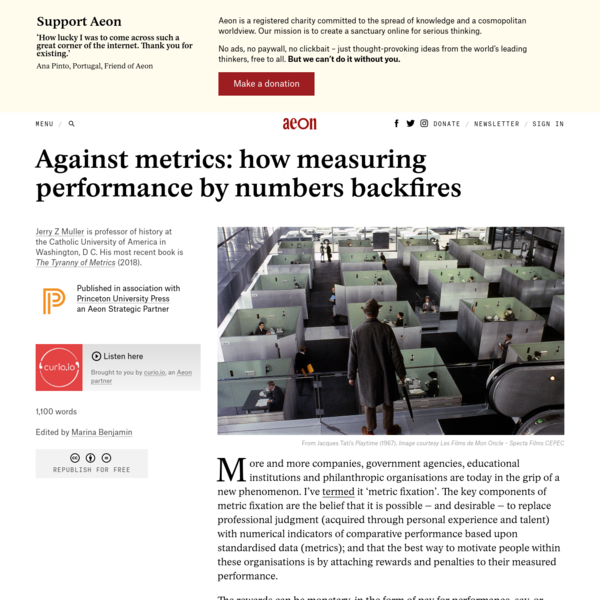 Against metrics: how measuring performance by numbers backfires - Jerry Z Muller | Aeon Ideas