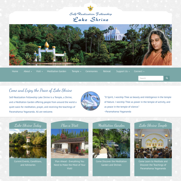 Self-Realization Fellowship Lake Shrine is a temple, shrine, and meditation garden which serves spiritual seekers, providing a safe and quiet place to meditate, pray, and receive the teachings of Paramahansa Yogananda.