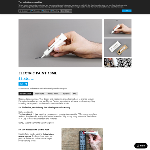 Electric Paint 10ml - Bare Conductive