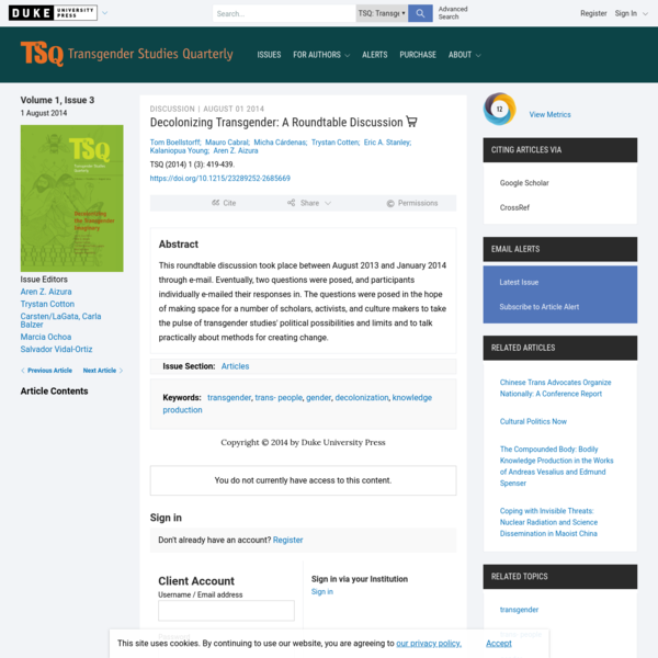 Decolonizing Transgender | TSQ: Transgender Studies Quarterly | Duke University Press