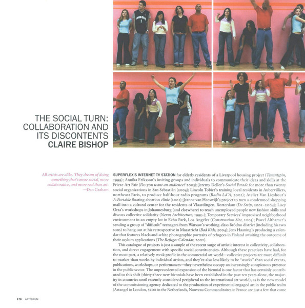 Claire Bishop, The Social Turnn: Collaboration and its discontents