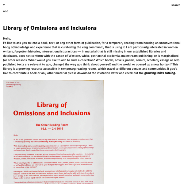 Library of Omissions and Inclusions
