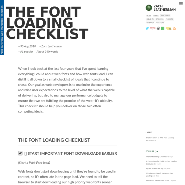 The Font Loading Checklist-zachleat.com
