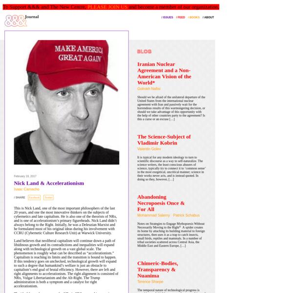 Nick Land & Accelerationism - &&& Journal