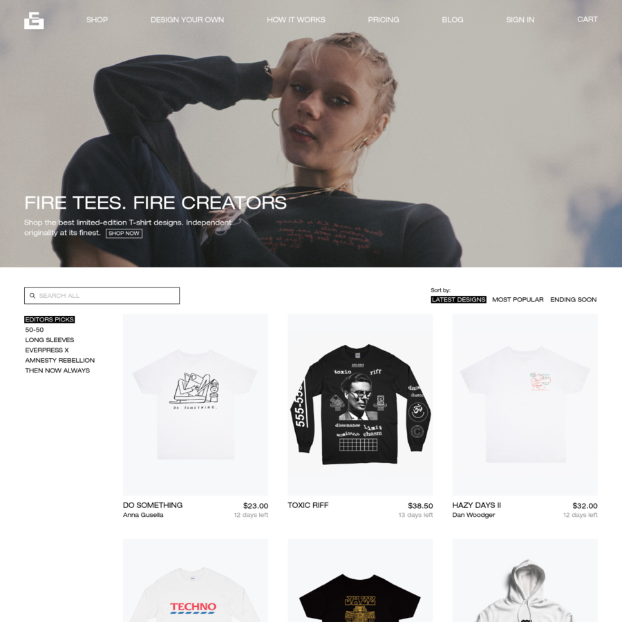 Buy limited edition T-shirts, sweatshirts and hoodies from some of the best names in the creative world, exclusively on Everpress.