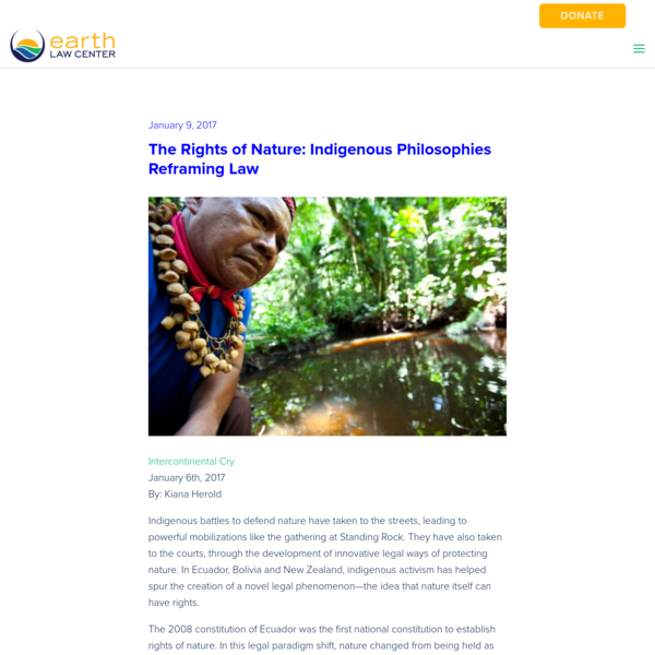 The Rights of Nature: Indigenous Philosophies Reframing Law