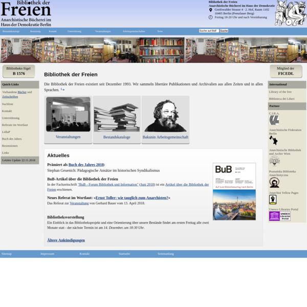 Eine anarchistische Bücherei im Haus der Demokratie in Berlin. Das Ziel der Bücherei ist das Sammeln und Bereitstellen libertärer Literatur. Die Bibliothek umfasst ein Zeitschriftenarchiv und einen Freihand-Bereich von 3000 Büchern.