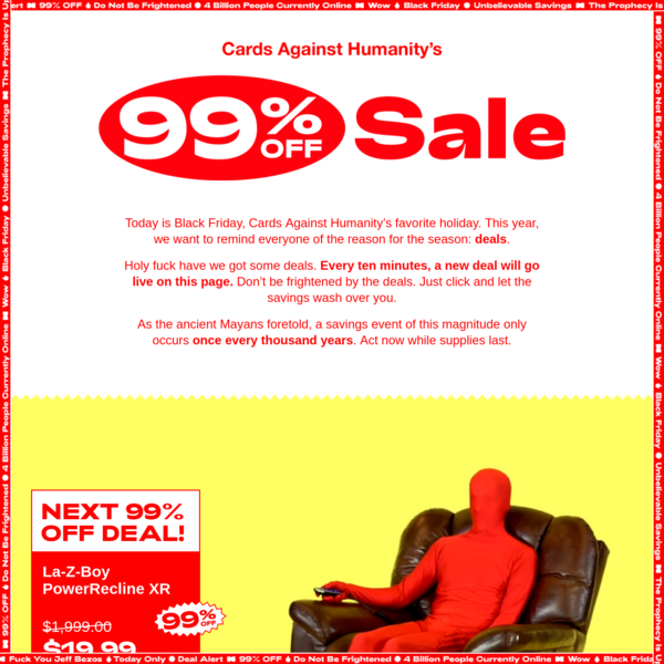 Cards Against Humanity's 99% Off Sale