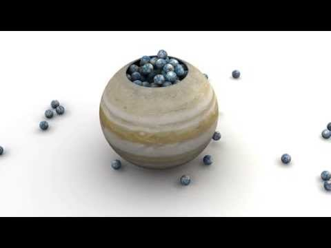 Whimsical animation showing how many times the planet Earth will fit into the interior of the planet Jupiter. Jupiter has 1300 times the volume of our humble home planet.