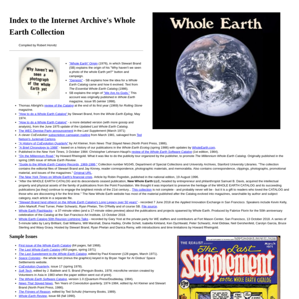 Index to the Internet Archive's Whole Earth Collection