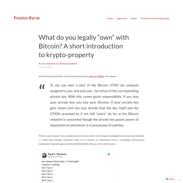 Knut Karnapp posed this very interesting question over on Twitter. His answer: To me you own a part of the Bitcoin UTXO set uniquely assigned to you, and only you-by virtue of the corresponding private key. With this comes great responsibility. If you lose your private key, you lose your bitcoins.