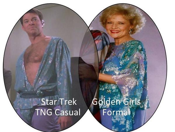 Golden Girls Formal vs Star Trek: The Next Generation Casual