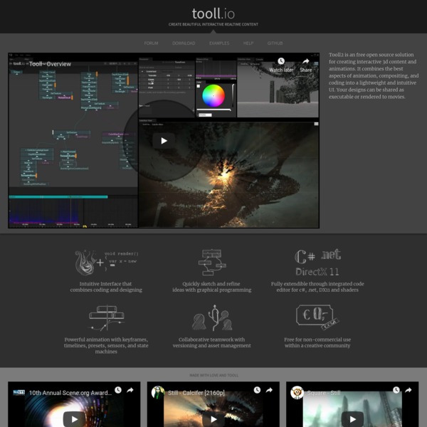 Tooll2 is an free open source solution for creating interactive 3d content and animations. It combines the best aspects of animation, compositing, and coding into a lightweight and intuitive UI. Your designs can be shared as executable or rendered to movies.