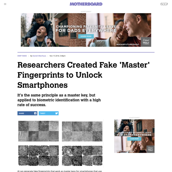 """AI can generate fake fingerprints that work as master keys for smartphones that use biometric sensors. According to the researchers that developed the technique, the attack can be launched against individuals with """"some probability of success."""" Biometric IDs seem to be about as close to a perfect identification system as you can get."""