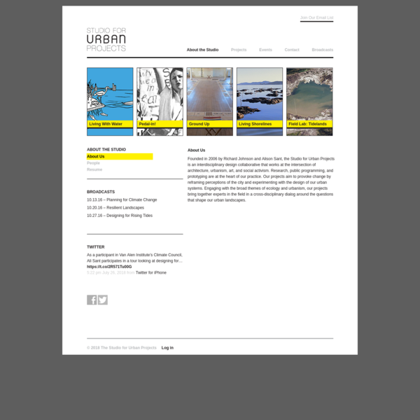 """The Studio for Urban Projects """" About Us"""