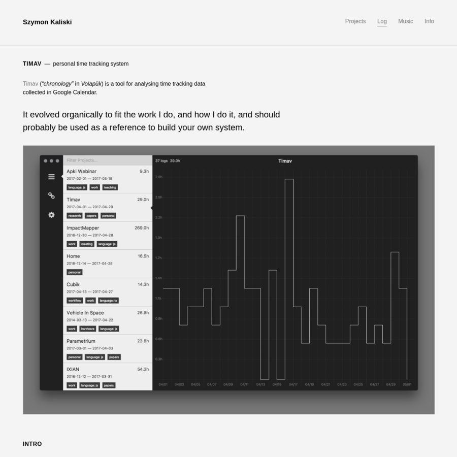 """Timav ( """"chronology"""" in Volapük) is a tool for analysing time tracking data collected in Google Calendar. I've built my first time-tracking system when I finished college and jumped into freelance work."""