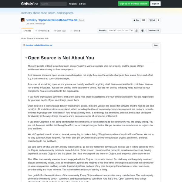 The only people entitled to say how open source 'ought' to work are people who run projects, and the scope of their entitlement extends only to their own projects. Just because someone open sources something does not imply they owe the world a change in their status, focus and effort, e.g.
