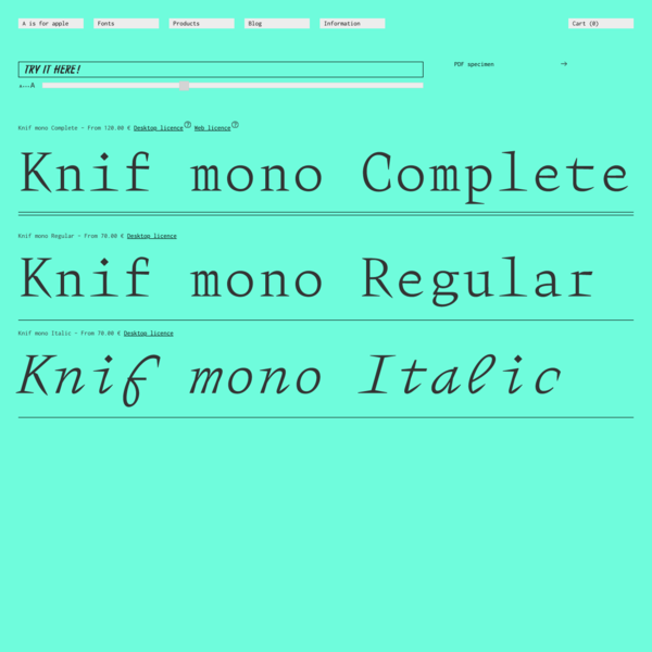 A is for Apple - Knif mono