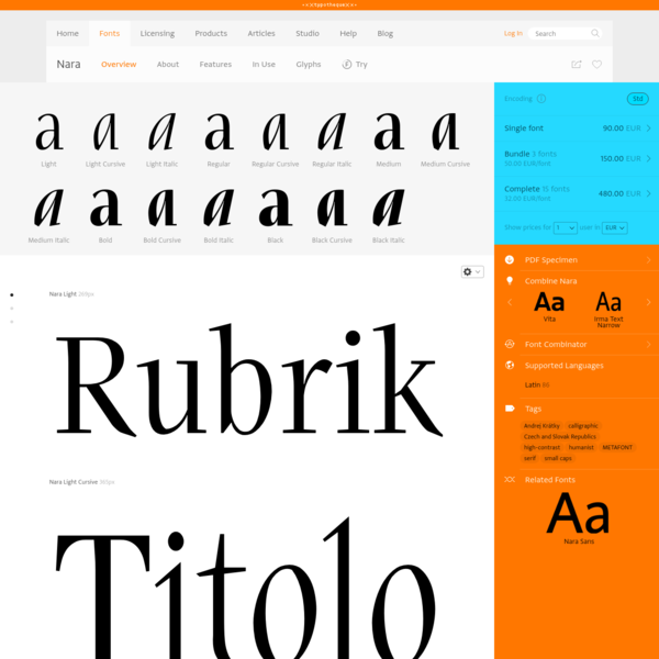 Typotheque: Nara font family