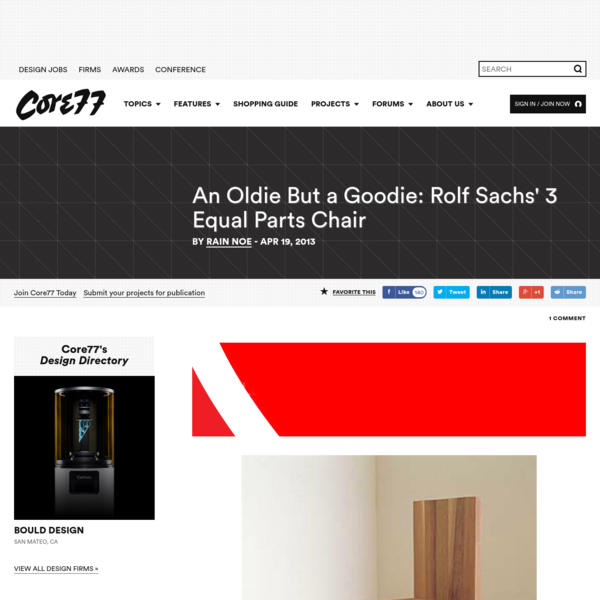 Way back in 1995, Core77 was just a baby, and designer Rolf Sachs blew the sawdust off of a new chair he'd designed. Two notes:1. Had we had the blog up and running back then we'd have covered it, but it took two years before anyone even knew what a...