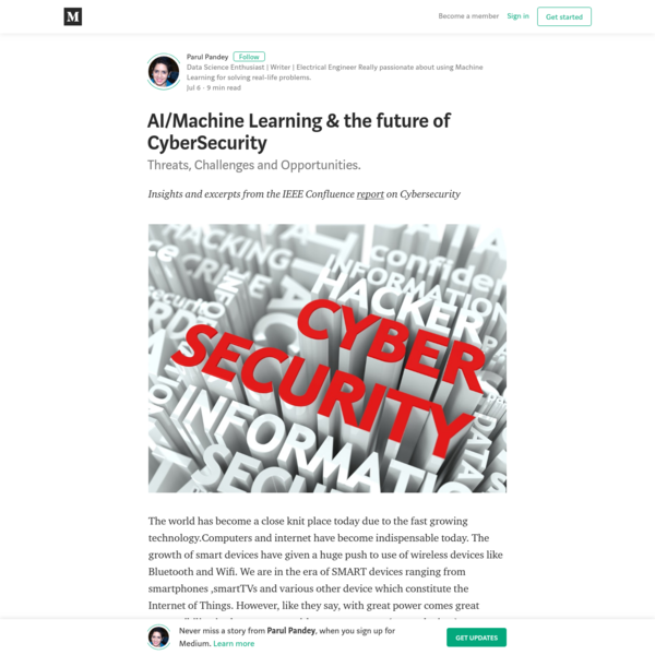 AI/Machine Learning & the future of CyberSecurity - Parul Pandey - Medium