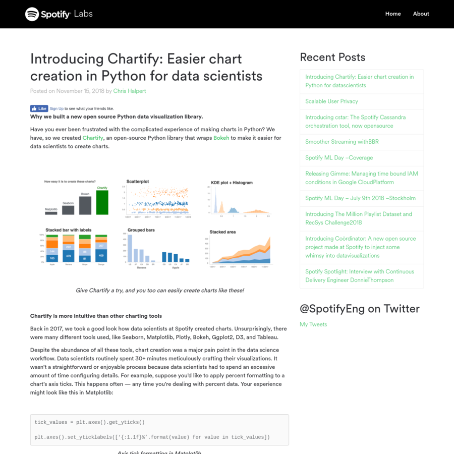 Why we built a new open source Python data visualization library. Have you ever been frustrated with the complicated experience of making charts in Python? We have, so we created Chartify, an open-source Python library that wraps Bokeh to make it easier for data scientists to create charts.