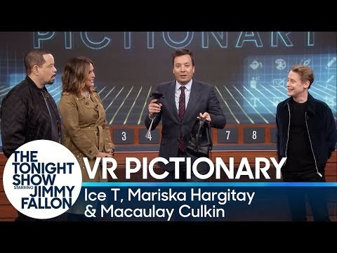 Macaulay Culkin and Jimmy team up and face off against Ice T and Mariska Hargitay in a virtual reality version of Pictionary.