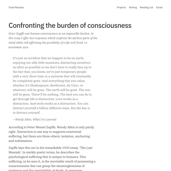 Confronting the burden of consciousness