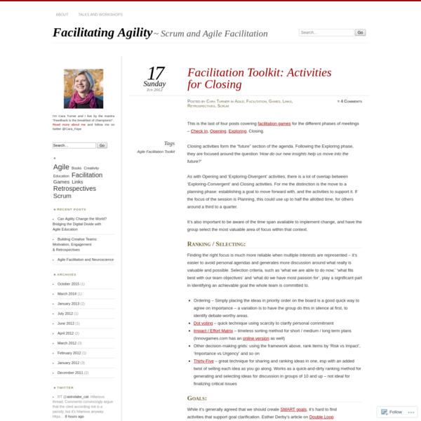 Facilitation Toolkit: Activities for Closing