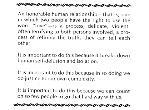 """Rich, Adrienne, """"Women and Honor: Some Notes on Lying"""" (1977).  Joan Braderman, Harmony Hammond, Elizabeth Hess, Arlene Ladden, Lucy Lippard, May Stevens (eds.), _Heresies 1_ (1977), p. 24.  http://heresiesfilmproject.org/archive/"""