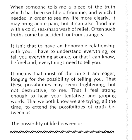 """Rich, Adrienne, """"Women and Honor: Some Notes on Lying"""" (1977).  Joan Braderman, Harmony Hammond, Elizabeth Hess, Arlene Ladden, Lucy Lippard, May Stevens (eds.), _Heresies 1_ (1977), p. 26.  http://heresiesfilmproject.org/archive/"""