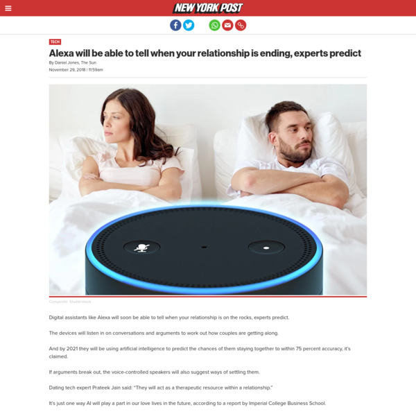 Alexa will be able to tell when your relationship is ending, experts predict