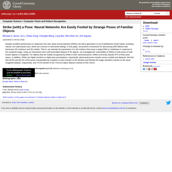Abstract: Despite excellent performance on stationary test sets, deep neural networks (DNNs) can fail to generalize to out-of-distribution (OoD) inputs, including natural, non-adversarial ones, which are common in real-world settings. In this paper, we present a framework for discovering DNN failures that harnesses 3D renderers and 3D models.