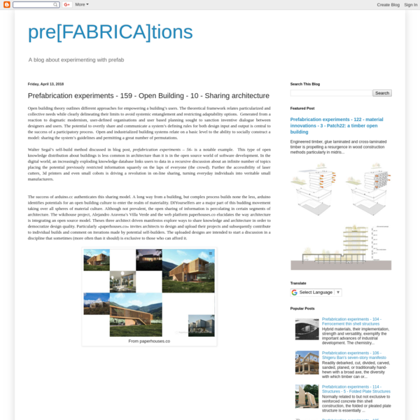 Prefabrication experiments - 159 - Open Building - 10 - Sharing architecture