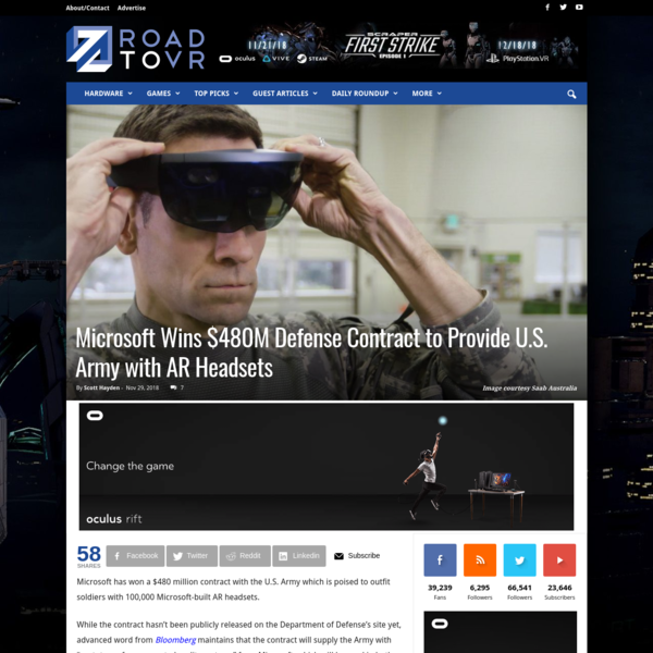 "Microsoft has won a $480 million contract with the U.S. Army which is poised to outfit soldiers with 100,000 Microsoft-built AR headsets. While the contract hasn't been publicly released on the Department of Defense's site yet, advanced word from Bloomberg maintains that the contract will supply the Army with ""prototypes for augmented reality systems"" from Microsoft, which will be ..."
