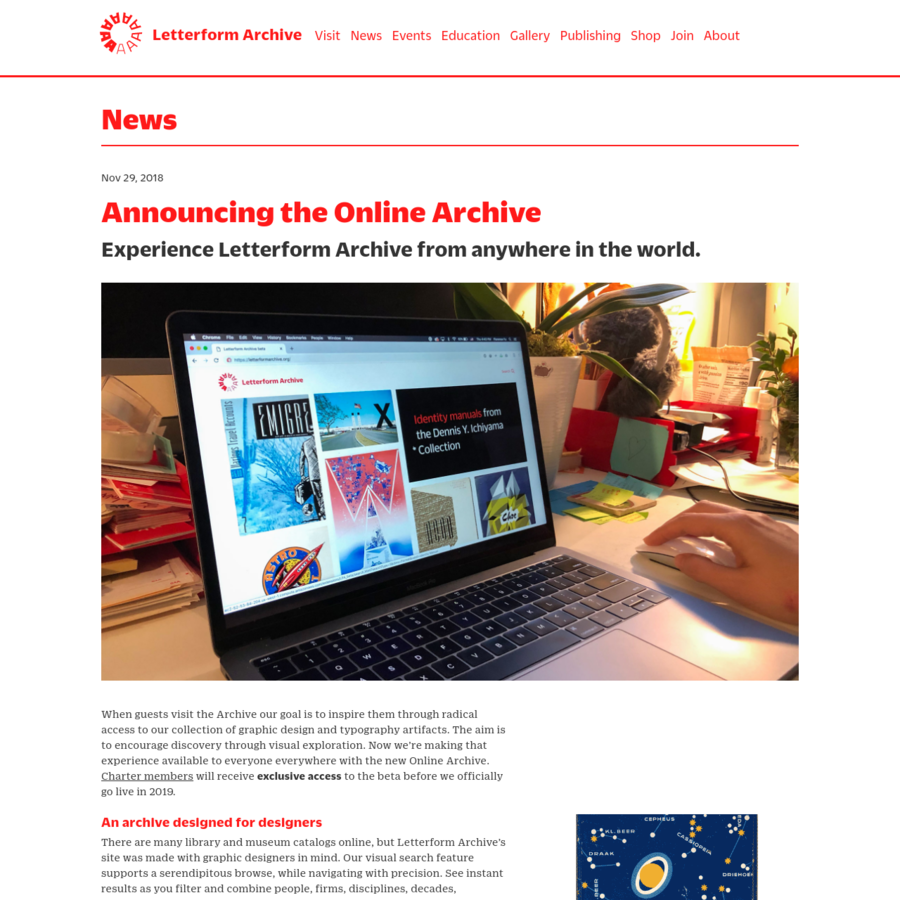 Experience Letterform Archive from anywhere in the world.