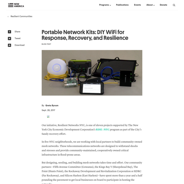 Portable Network Kits provide easy to assemble WiFi hotspots for times of disaster-a simpler alternative to building mesh networks.