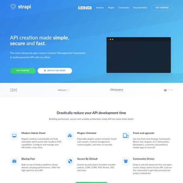 Strapi - Node.js Headless CMS for building customizable API.