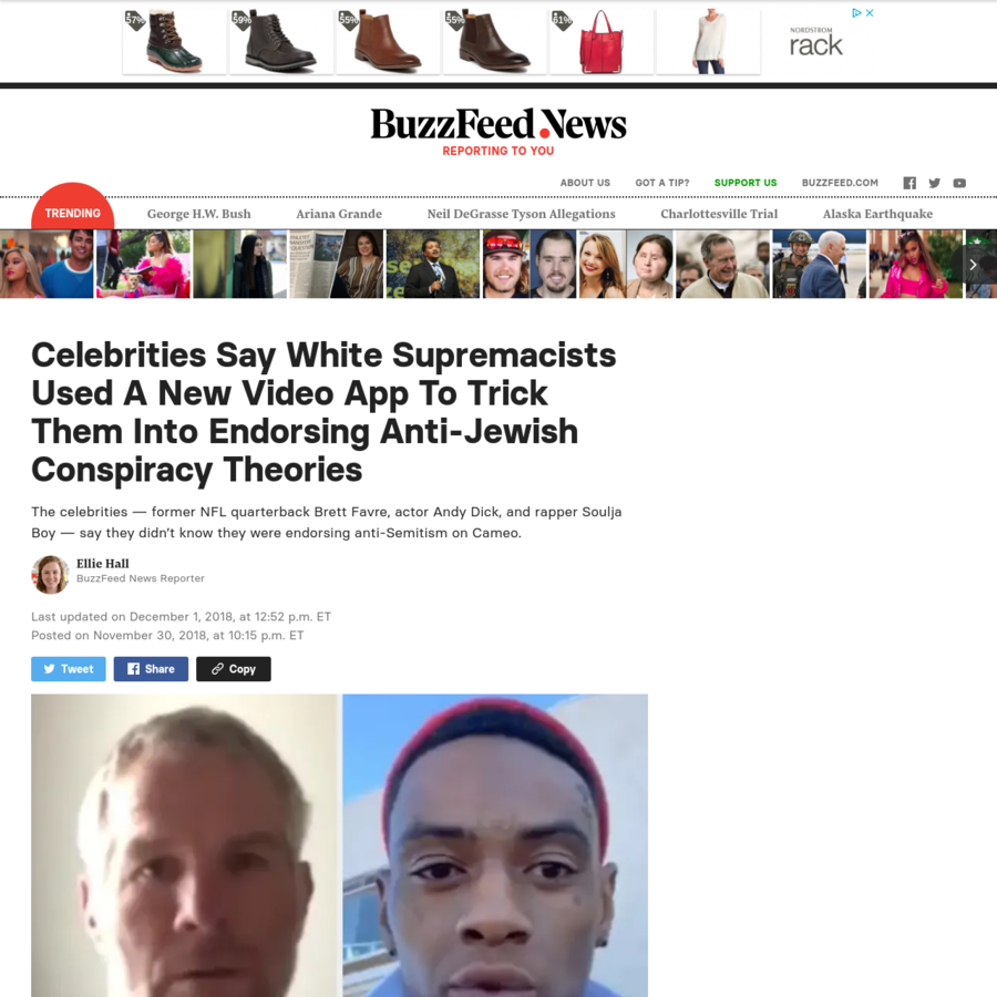 The celebrities - former NFL quarterback Brett Favre, actor Andy Dick, and rapper Soulja Boy - say they didn't know they were endorsing anti-Semitism on Cameo. Posted on November 30, 2018, at 10:15 p.m.