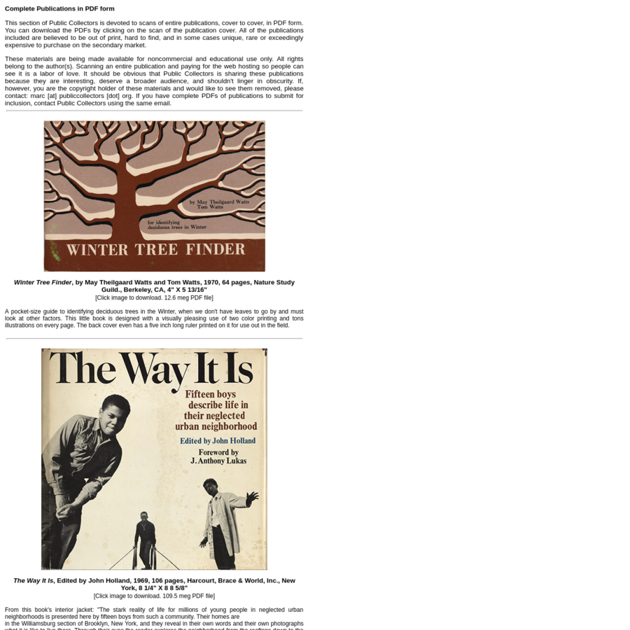 This section of Public Collectors is devoted to scans of entire publications, cover to cover, in PDF form. You can download the PDFs by clicking on the scan of the publication cover. All of the publications included are believed to be out of print, hard to find, and in some cases unique, rare or exceedingly expensive to purchase on the secondary market.