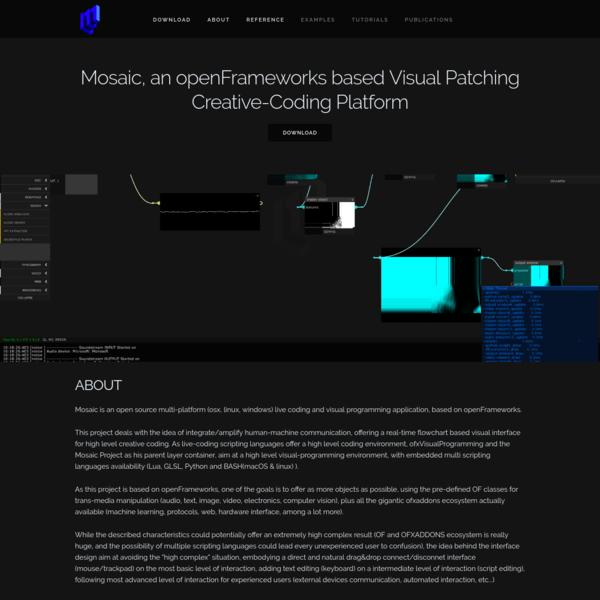 Mosaic, an openFrameworks based Visual Patching Creative-Coding Platform