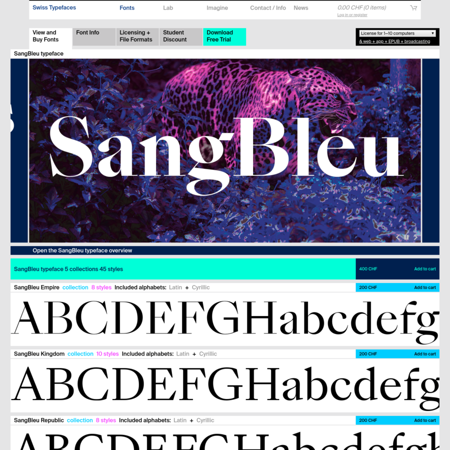 The new SangBleu supersedes our previous typeface of the same name, which, together with Romain, has been discontinued. It is not an update, but a completely new design, consisting of five full-featured collections: Empire, Kingdom, Republic, Versailles, and Sunrise. Each one comes in four or five weights, all of which are accompanied by matching italics.
